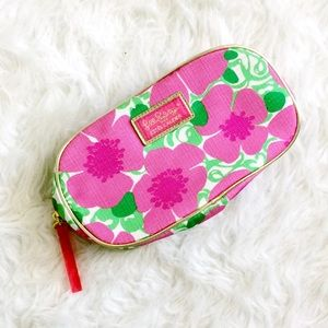 Lilly Pulitzer pink floral cosmetic bag make up